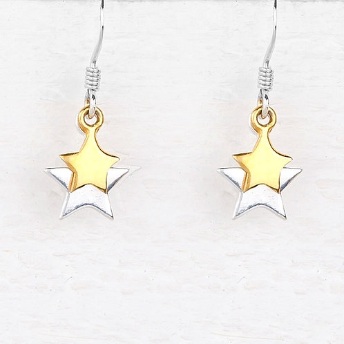 Cassiopeia Sliver & Gold Star Earrings