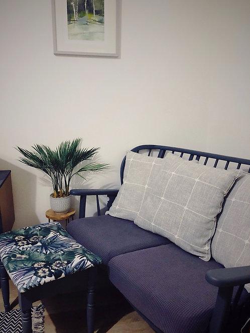 Grey Linen Check Cushion Cover