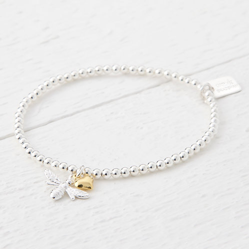 Beatrice Silver & Gold Heart Bee Bracelet