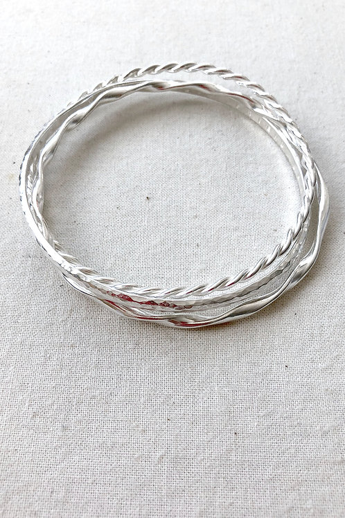 Sterling Silver Interlinking Bangle