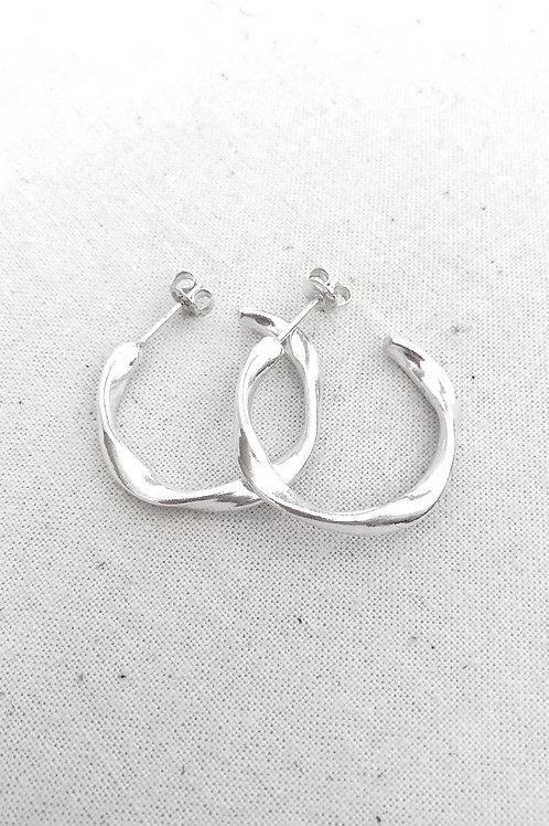 Sterling Silver Wave Hoop Earrings