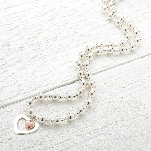 Sophia Rose Gold Heart Beaded Necklace