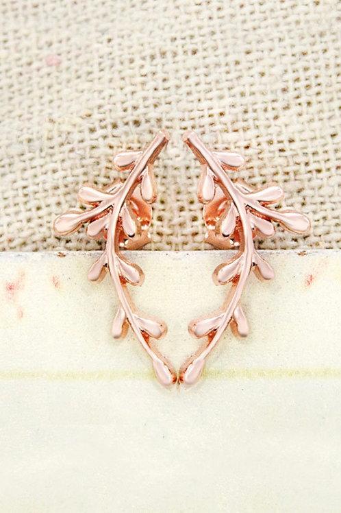 Sterling Silver Coral Branch Stud Earrings