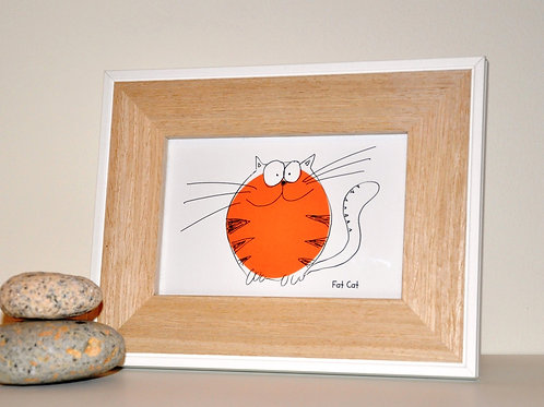 Fat Cat  (White) Small framed print