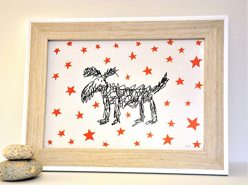 Hairy Dog – A4 framed screen print