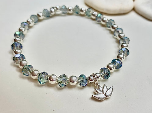 Silver and Crystal Lotus Bracelet