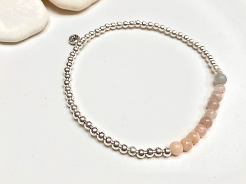 Pink or Teal Moonstone Sterling Silver Bracelet