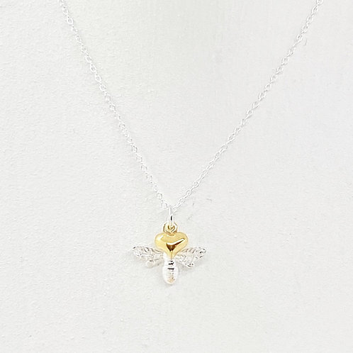 Beatrice Silver & Gold Heart Bee Necklace