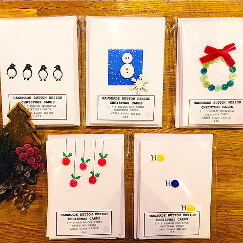 Pack of 5 button design cards