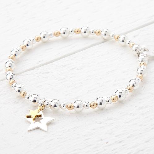 Phoebe Sliver & Gold Star Bracelet