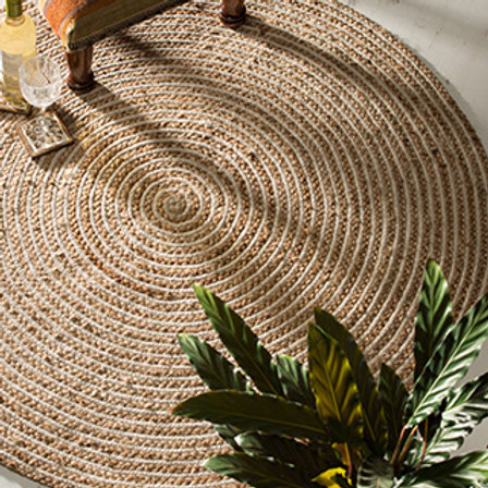 Large Round Natural Braided Rug, Jute & Cotton 90cm