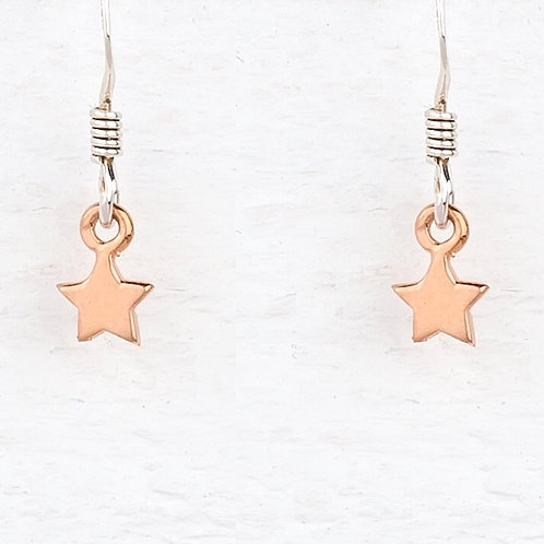 Cassiopeia Mini Sliver & Rose Gold Star Earrings