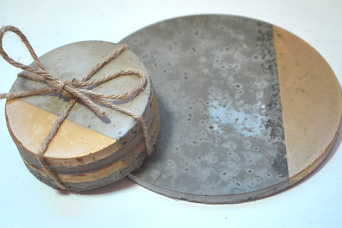 Concrete and Gold Trivet or Coasters
