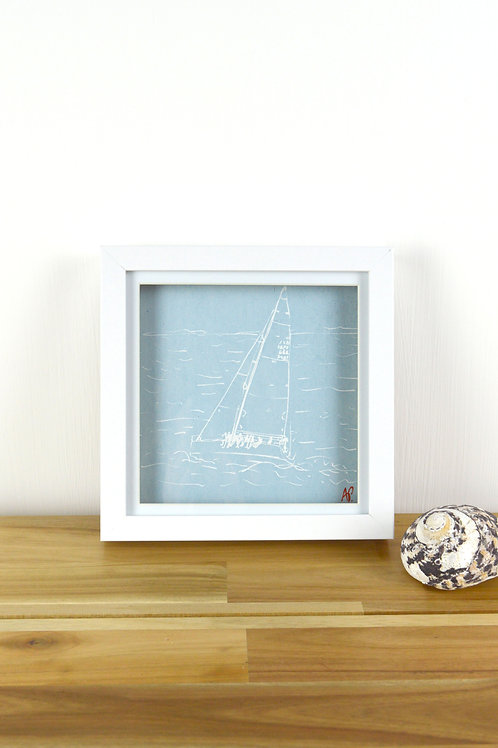 Limited Edition Screen Print of 'Yacht Sailing in the Solent'