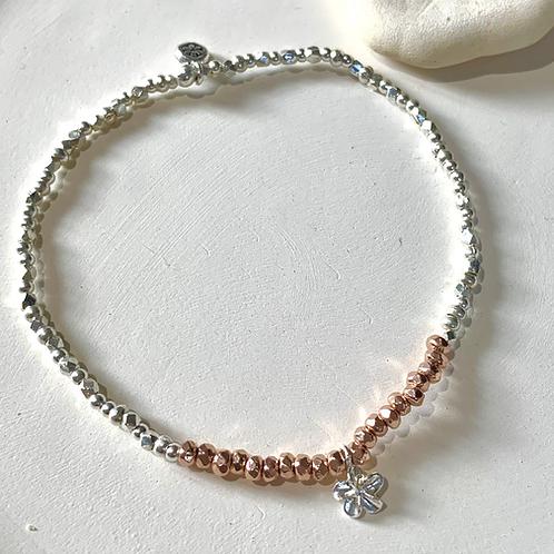 Rose gold plumeria sterling silver bracelet