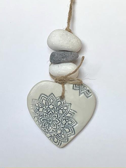Ceramic Hanging Pebble Hearts