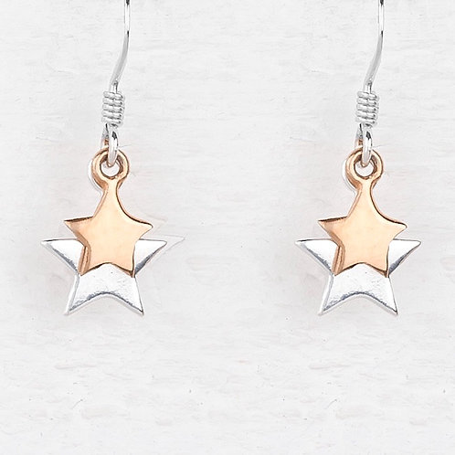 Cassiopeia Sliver & Rose Gold Star Earrings