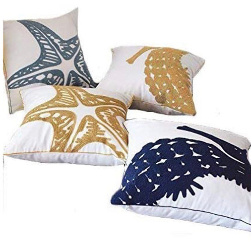 Embroidered Coastal Cushion Covers