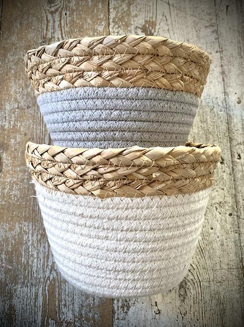 Wicker and Cotton Storage Baskets