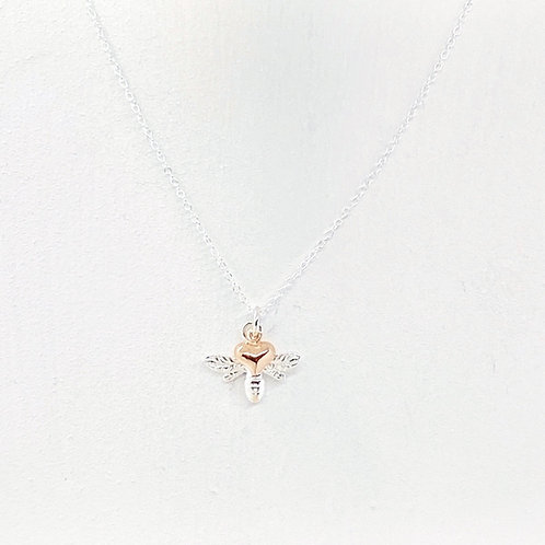 Beatrice Silver & Rose Gold Heart Bee Necklace