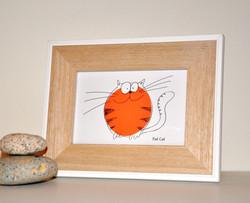 FAT CAT (white) - small framed print