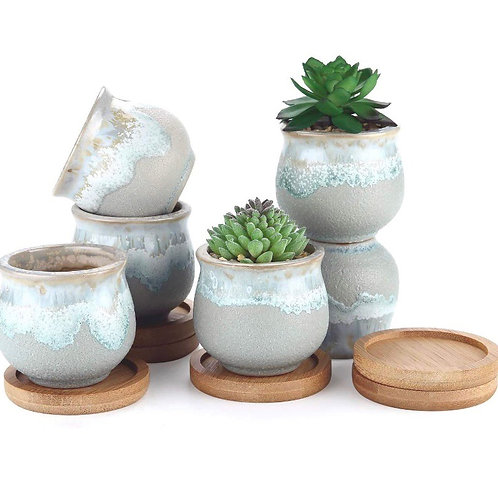 Plant Pot w/Bamboo Base