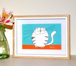 FAT CAT - small framed print