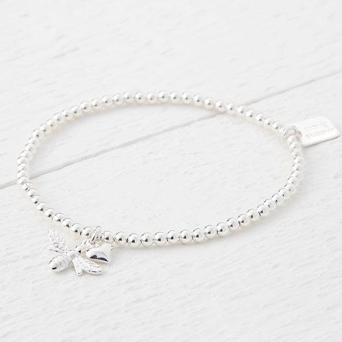 Beatrice Silver Heart Bee Bracelet