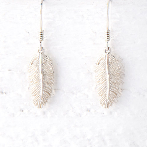 La Plume Silver Feather Earrings