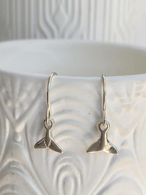 Sterling Silver Whale Tail Drop Earrings