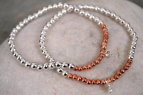 Rose Gold and Silver Bead Bracelets