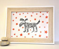 HAIRY DOG - A4 framed screen print