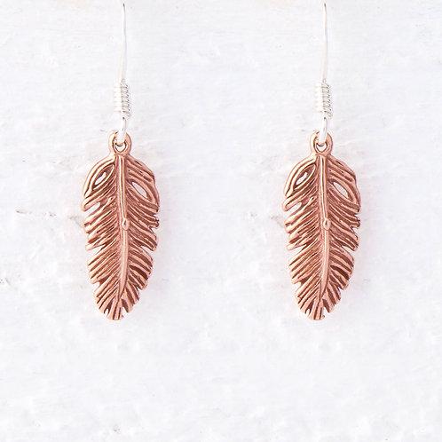 La Plume Rose Gold Feather Earrings