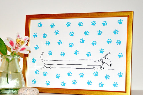 Long Dog - A4 Framed Print