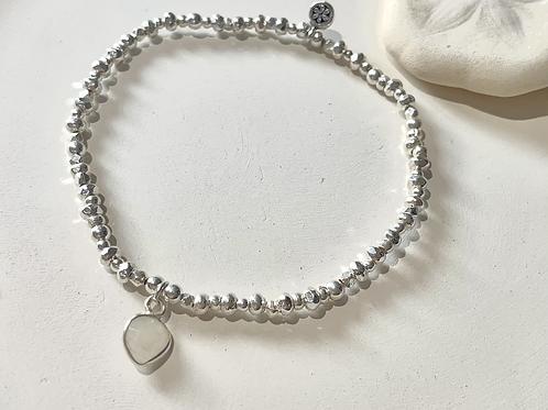 Moonstone Charm sterling silver bracelet