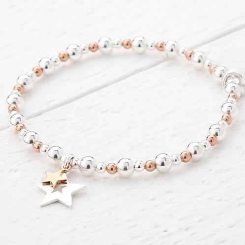 Phoebe Sliver & Rose Gold Star Bracelet