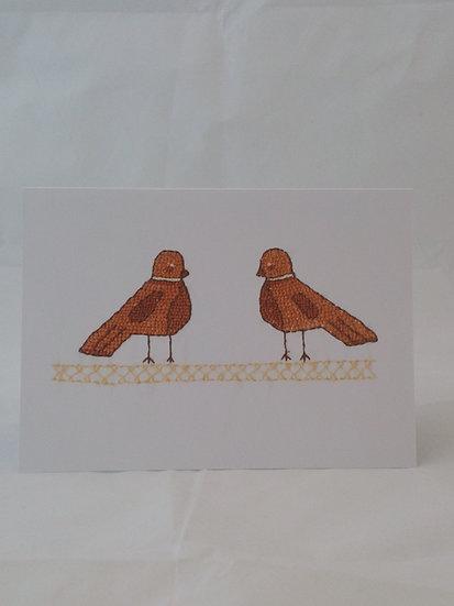 Sampler Birds Greetings Card