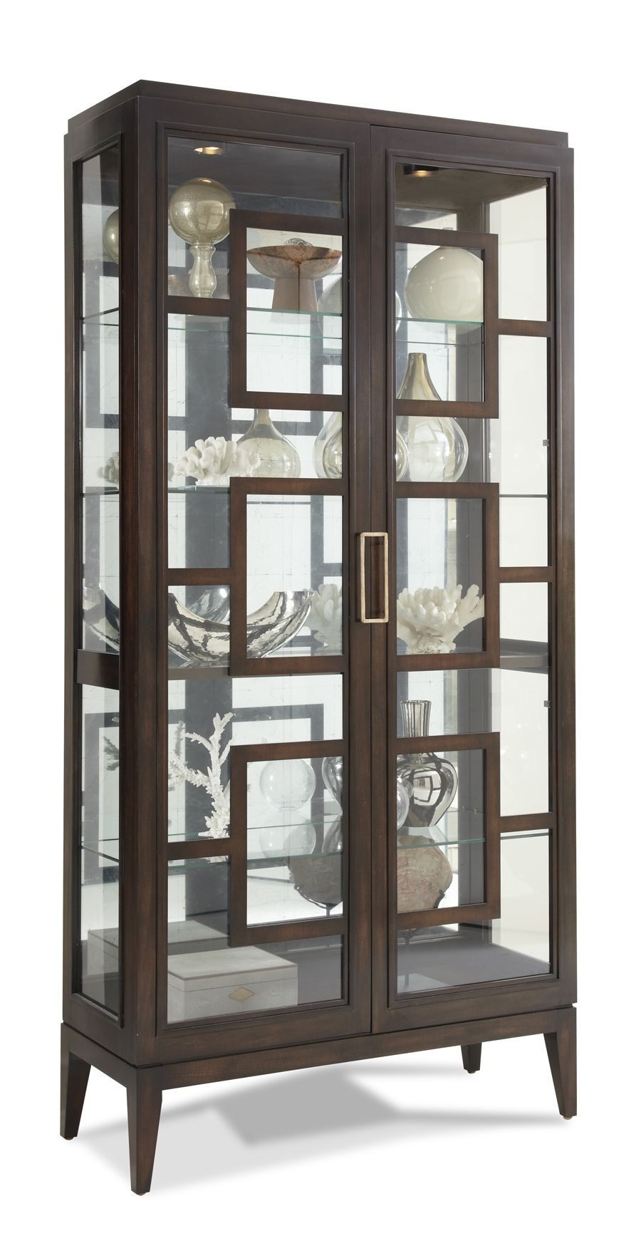 Glass crockery unit with heavy detailing