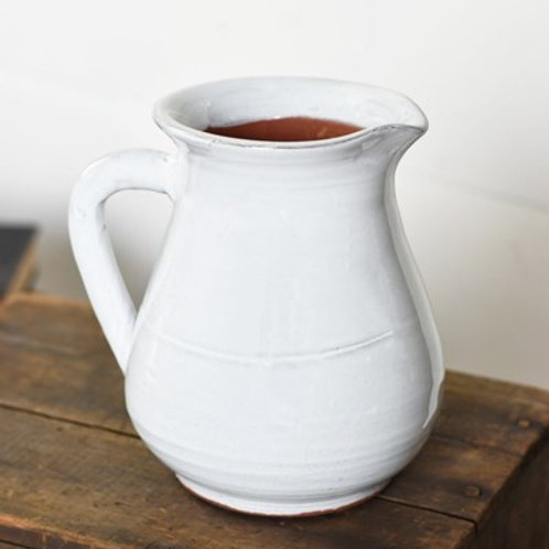 "7"" White Ceramic Pitcher"