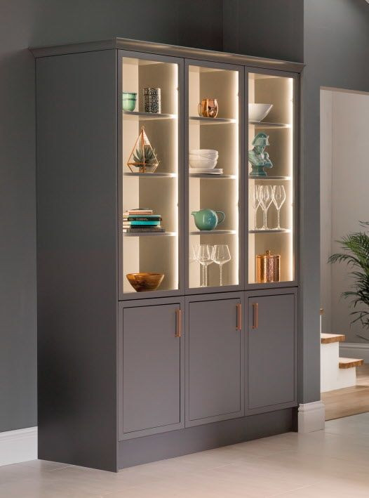 Grey Cabinets with Three Glass Shutters