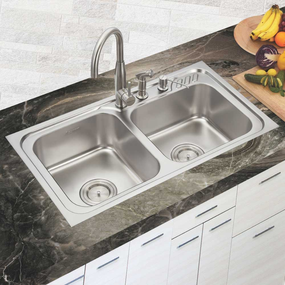 Anupam LS337EX, 304 Grade Stainless Steel Double Square Bowl Kitchen Sink (36 x 20 x 8 Inch), Satin Finish