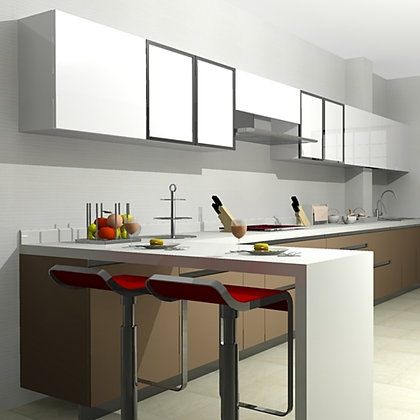Straight Kitchen with breakfast counter (10 feet)