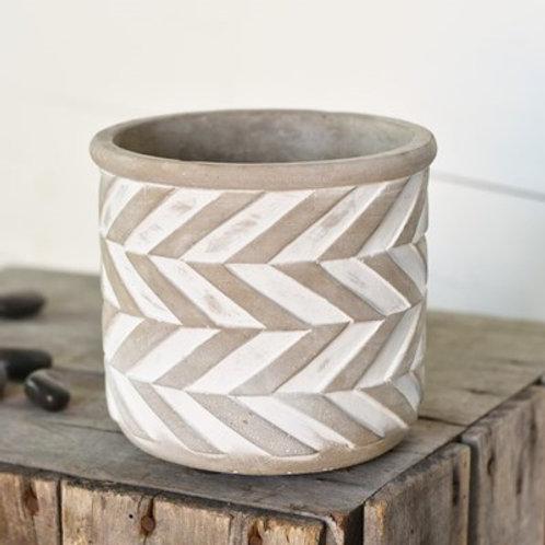 "5"" Concrete Herringbone Pattern Pot"