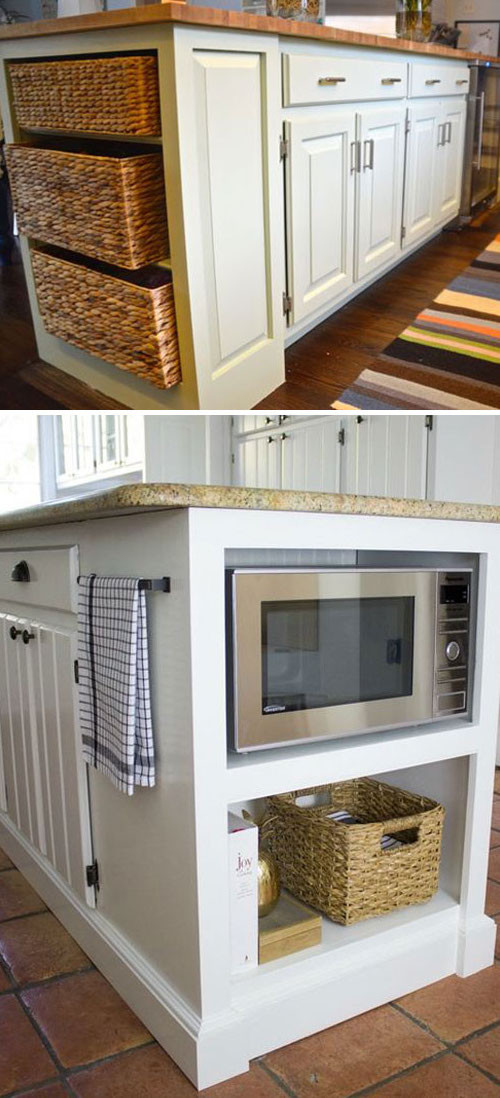 Built In Shelves at end of the Kitchen Counter Cabinet