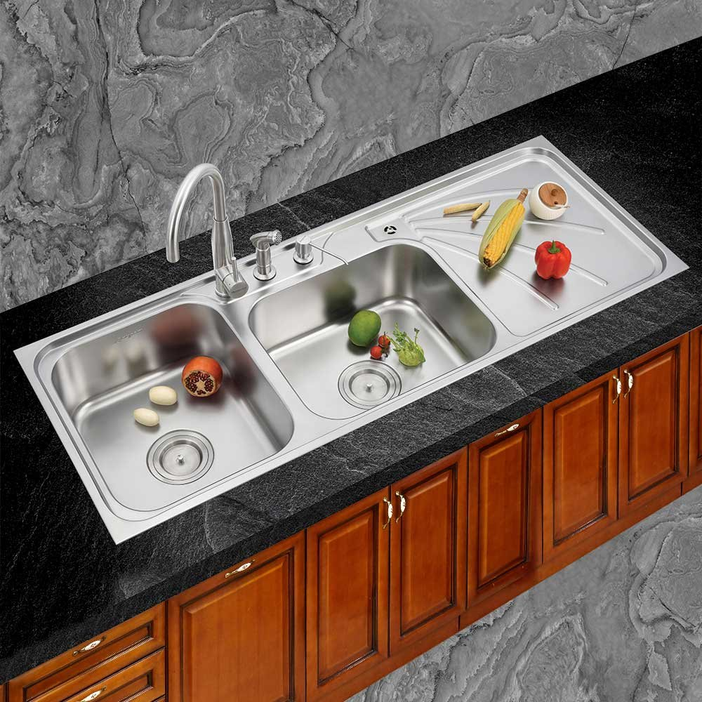 Anupam LS342SM, 304 Grade Stainless Steel Double Square Bowl with Drain Board Kitchen Sink (54 x 21 x 8 Inch), Satin Finish