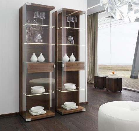 Glass Crockery Units with Wooden Shelves