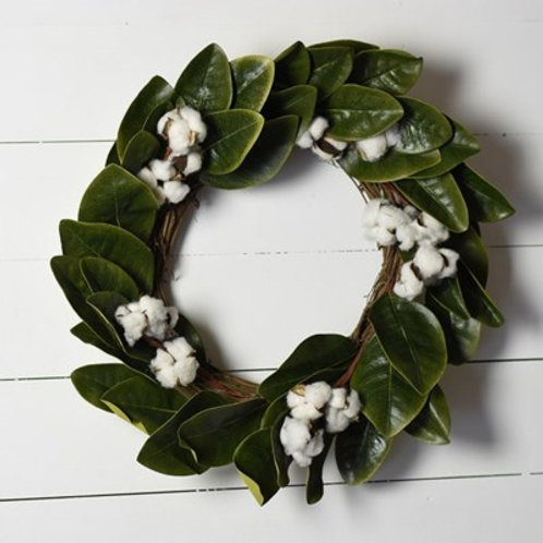 Cotton and Magnolia Wreath