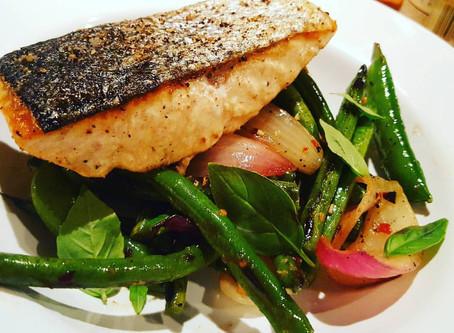 RECIPE OF THE WEEK - 2/20/18 Salmon with Charred Bean & Snap Pea Salad & Habanero Vinaigrette
