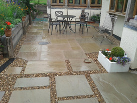 Cottage style garden with Indian Sandstone