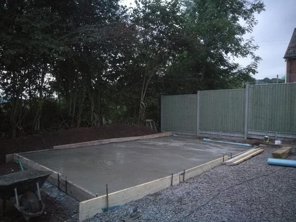 Concrete base for a garage